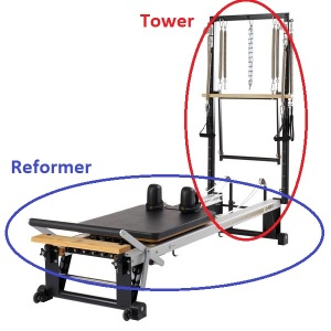 shows Reformer and Tower parts of STOTT Pilates V2Max machine