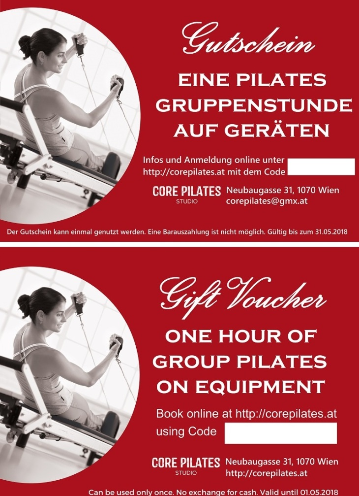 Gutschein für Pilates Gruppenstunde_Gift Voucher for Group Pilates Class