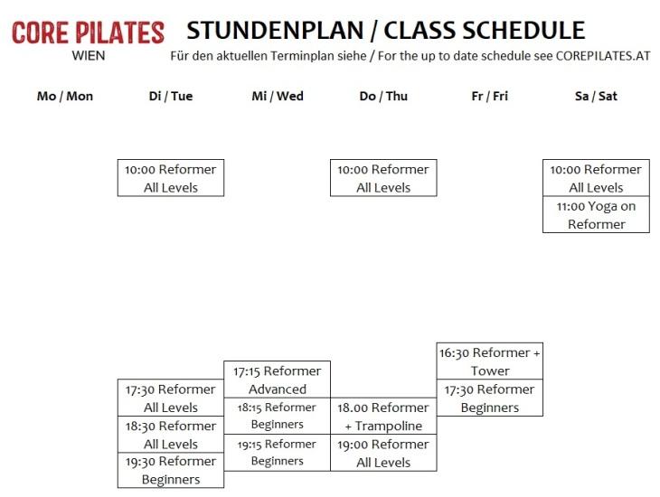 Pilates Studio Wien Gruppenstunden Stundenplan